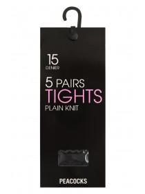 Womens 5pk 15 Denier Large Tights