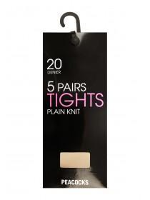 Womens Medium 20 Denier 5PK Tights