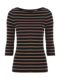 Womens Striped Envelope Neck Top
