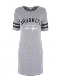 Womens Grey Short Sleeve T-Shirt Dress