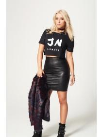 Jane Norman Black PU Mini Skirt