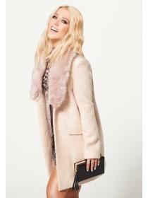 Jane Norman Pale Pink Faux Fur Coat