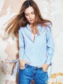 Womens Blue Stripe Cotton Ring Back Shirt