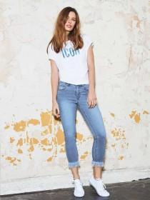 Womens Denim 365 Blue Frayed Hem Slim Jeans