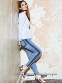 Womens Denim 365 Blue Side Stripe Skinny Jeans