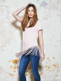 Womens Denim 365 Pink Fringe T-Shirt
