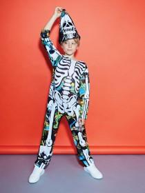Kids Multicolour Skeleton Fancy Dress Outfit