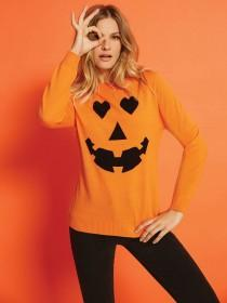 Womens Orange Pumpkin Jumper