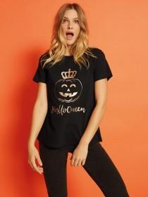 Womens Black HalloQueen Slogan T-Shirt