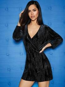 Womens ENVY Glitter Wrap Playsuit