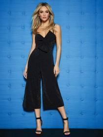 Womens ENVY Black Glitter Culotte Jumpsuit