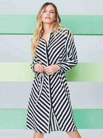 b44ed886011cb Womens Monochrome Chevron Stripe Shirt Dress ...