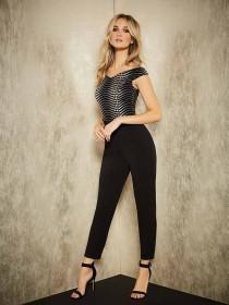 Womens ENVY Metallic Bardot Jumpsuit