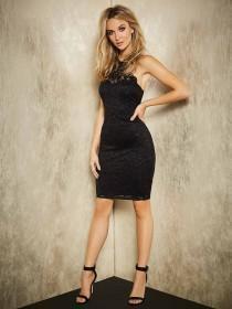 Womens ENVY Black Lace Racer Dress