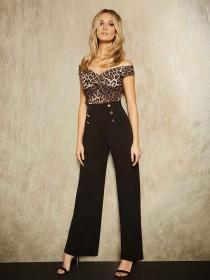 Womens ENVY Black Button Trim Wide Leg Trousers