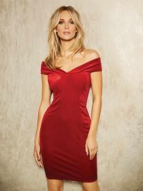 Womens ENVY Red Velvet Bardot Dress