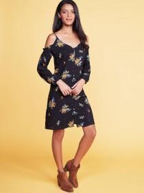 Womens Black Floral Button Through Cold Shoulder Dress