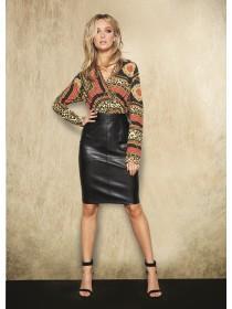 Womens ENVY Black PU Pencil Skirt