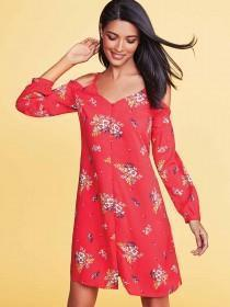 Womens Red Floral Button Through Cold Shoulder Dress