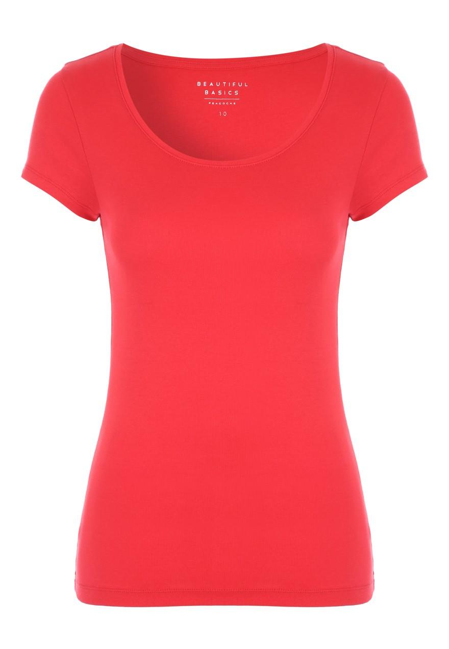 Womens Red Short Sleeve Crew Neck Top