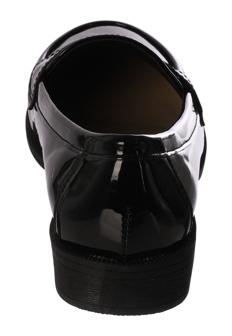 Girls Patent Black Loafer School Shoes
