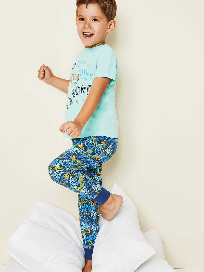 Boys Younger Boys Aqua Dinosaur Top and Leggings Pyjama Set | Peacocks