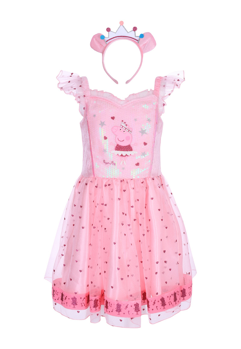 Girls Kids Pink Peppa Pig Fancy Dress Outfit Peacocks
