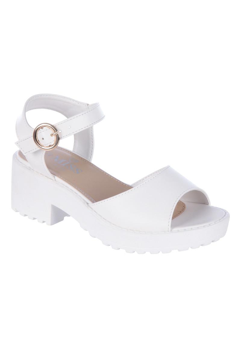 Older Girls White Cleated Heel Sandals