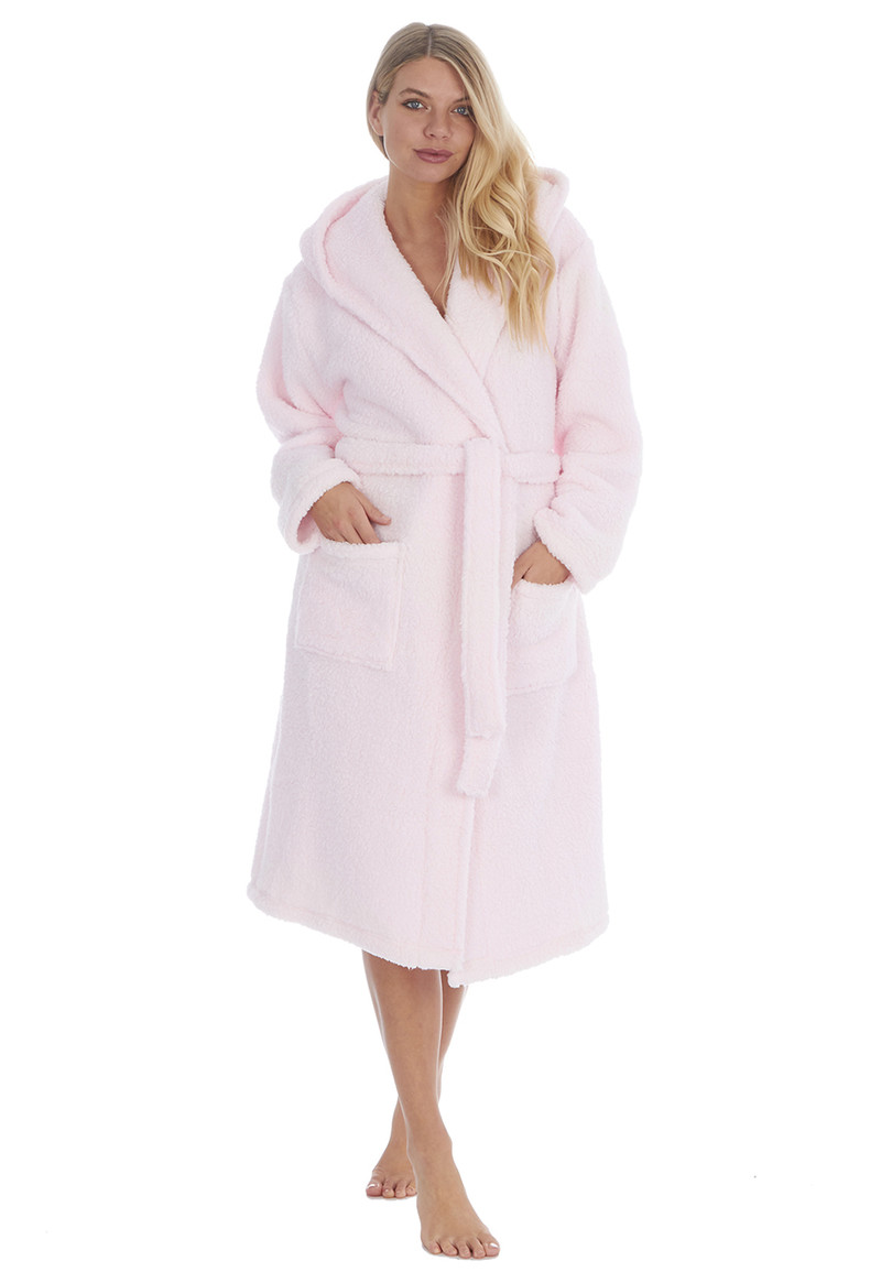 Womens Pink Fluffy Hooded Dressing Gown Peacocks