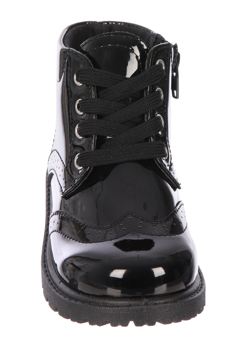 Girls Younger Girls Black Patent Lace
