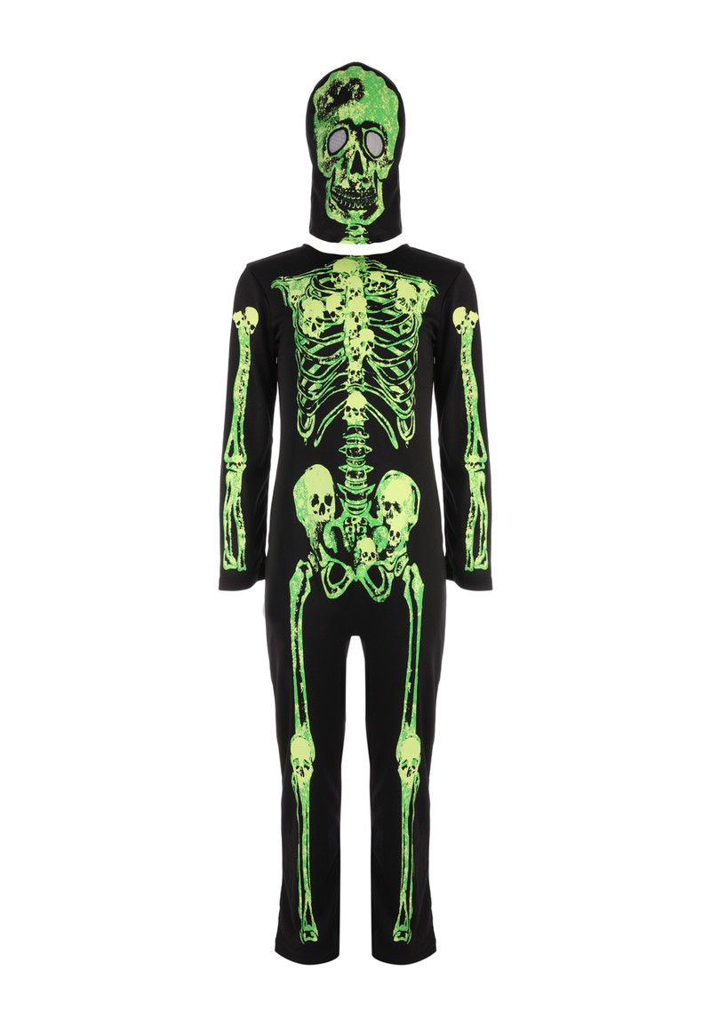 Halloween Skeleton Glow in Dark Kids All-In-One Pyjama Suit Fancy Dress Outfit