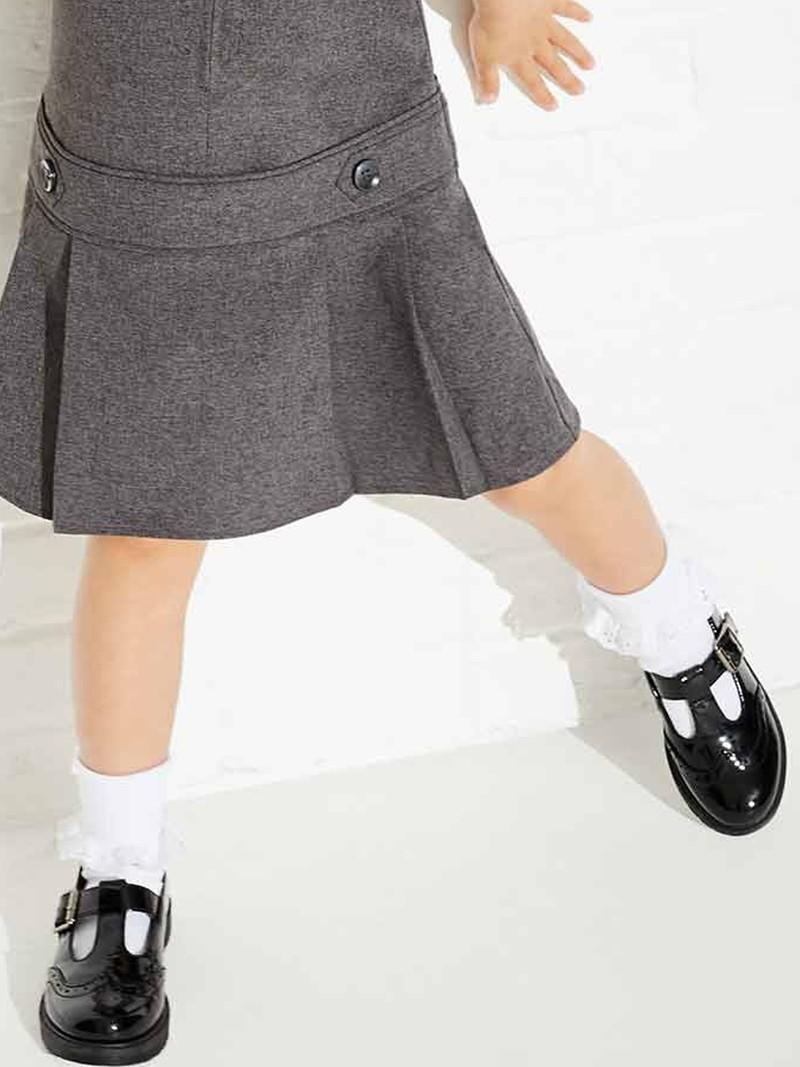 Girls Patent Black T-Bar Brogue School